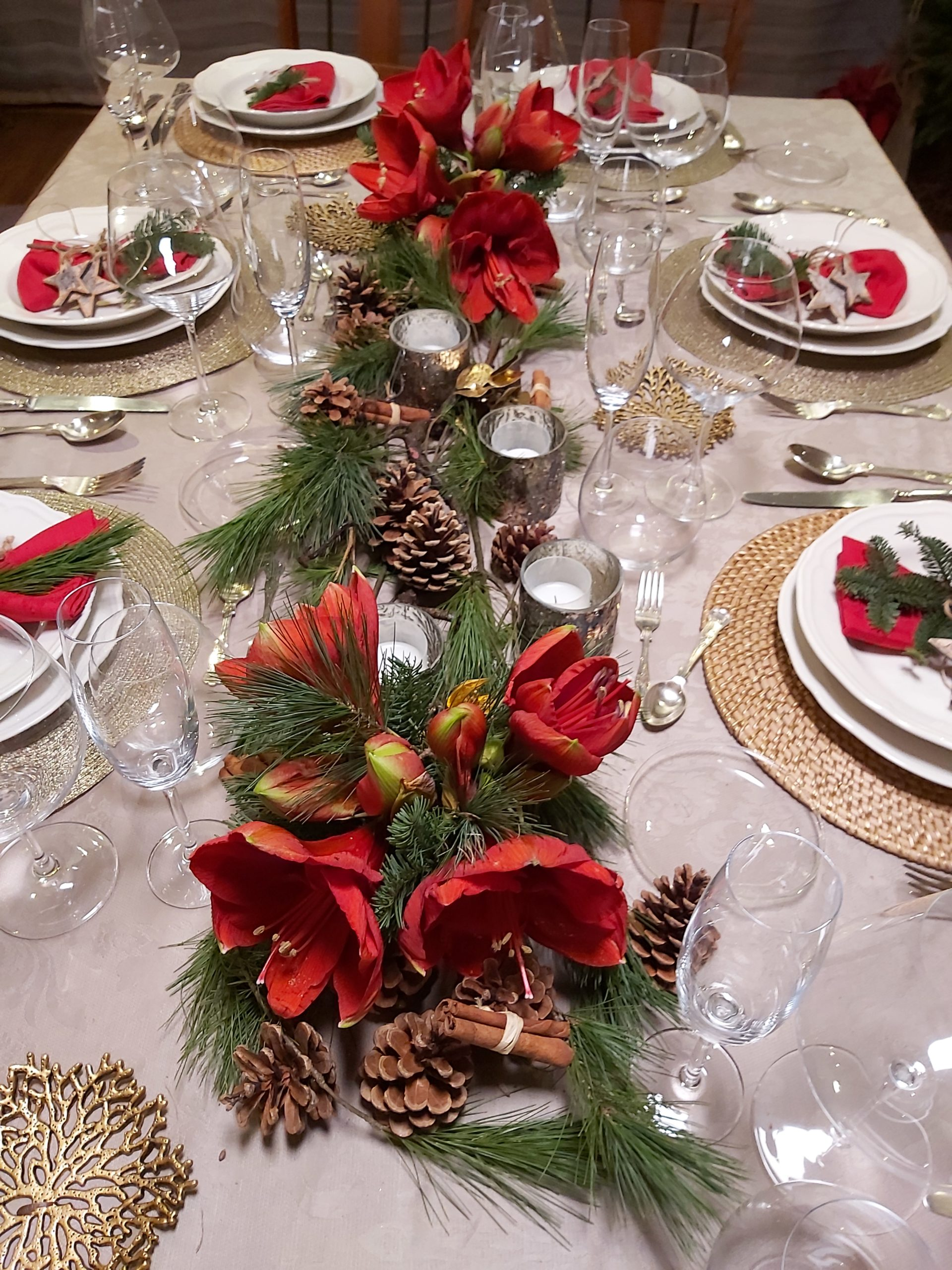 Decoración navideña con Amarillys