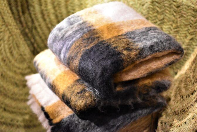 Manta de mohair tartán naturales