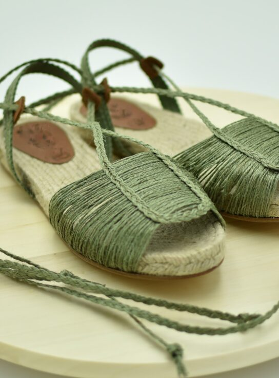 Sandalia plana de esparto y Rafia Verde Nature